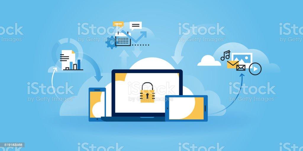 Flat line design website banner of internet security vector art illustration