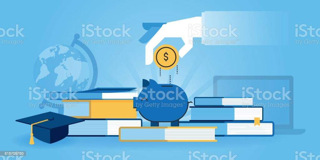 Flat line design website banner of investment in knowledge vector art illustration