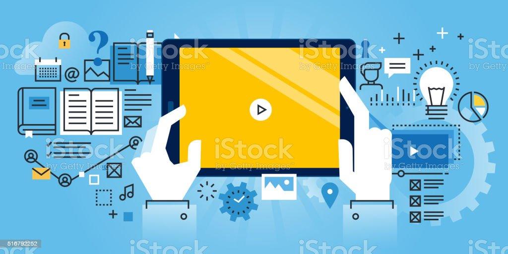 Bandera de diseño plano de educación en línea en el sitio Web illustracion libre de derechos libre de derechos