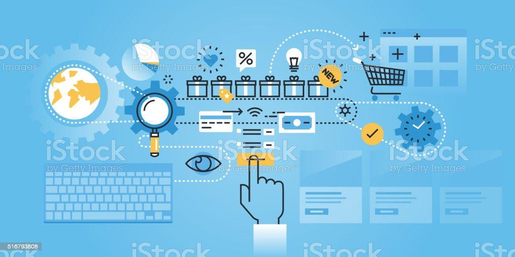 Plano de diseño web bandera de procedimiento de compras en línea illustracion libre de derechos libre de derechos