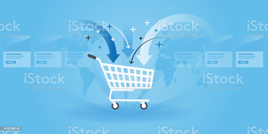 Flat line design website banner of shopping vector art illustration