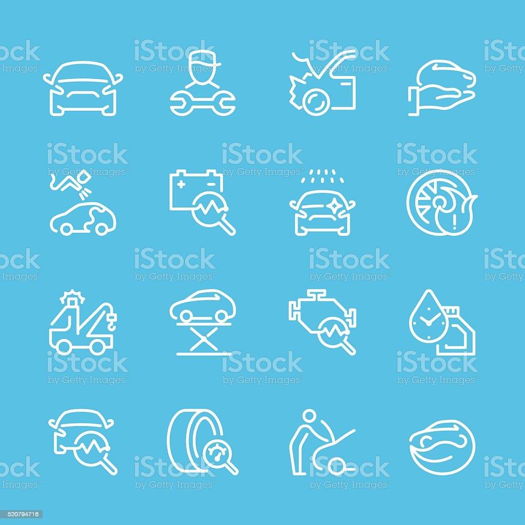 Flat Line icons - Auto Repair Series vector art illustration