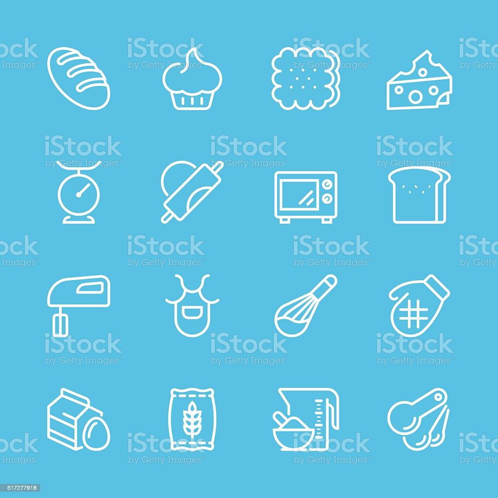 Flat Line icons - Baking Series vector art illustration