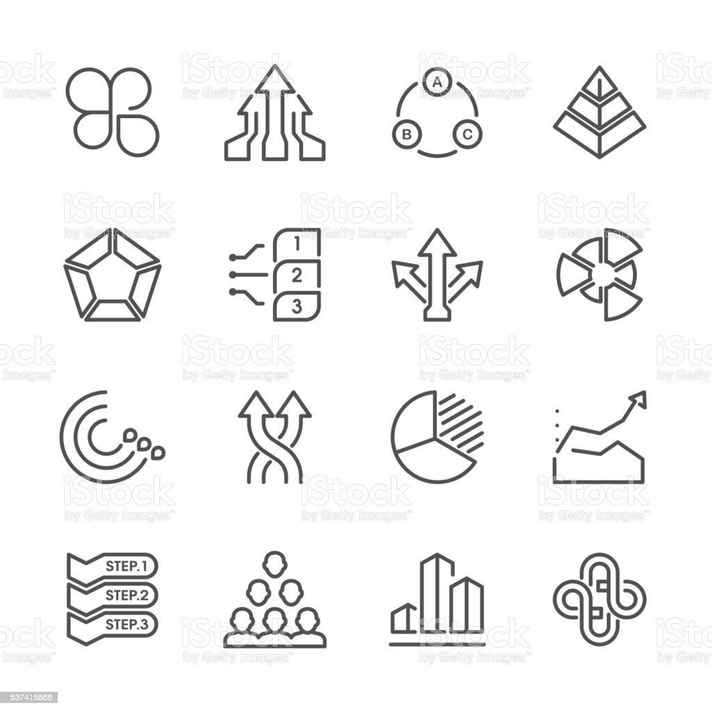 Flat Line icons - Business Chart Series vector art illustration
