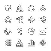 Flat Line icons - Business Chart Series