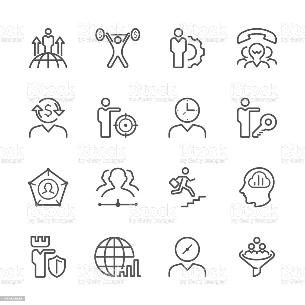 Flat Line icons - Business  metaphor  Series vector art illustration