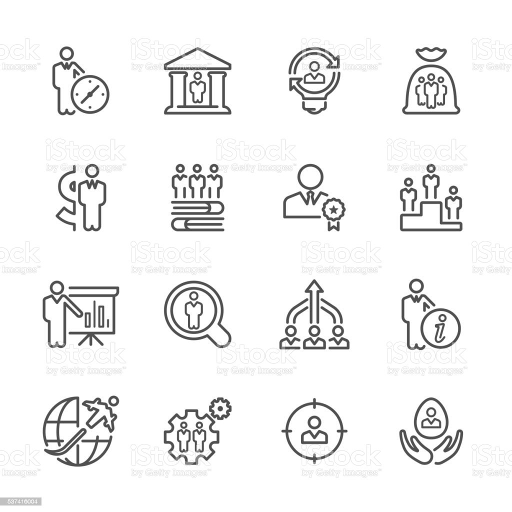 Flat Line icons - Business & Recruitment Series vector art illustration