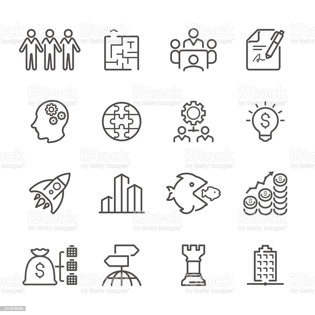 Flat Line icons - Business  Series vector art illustration