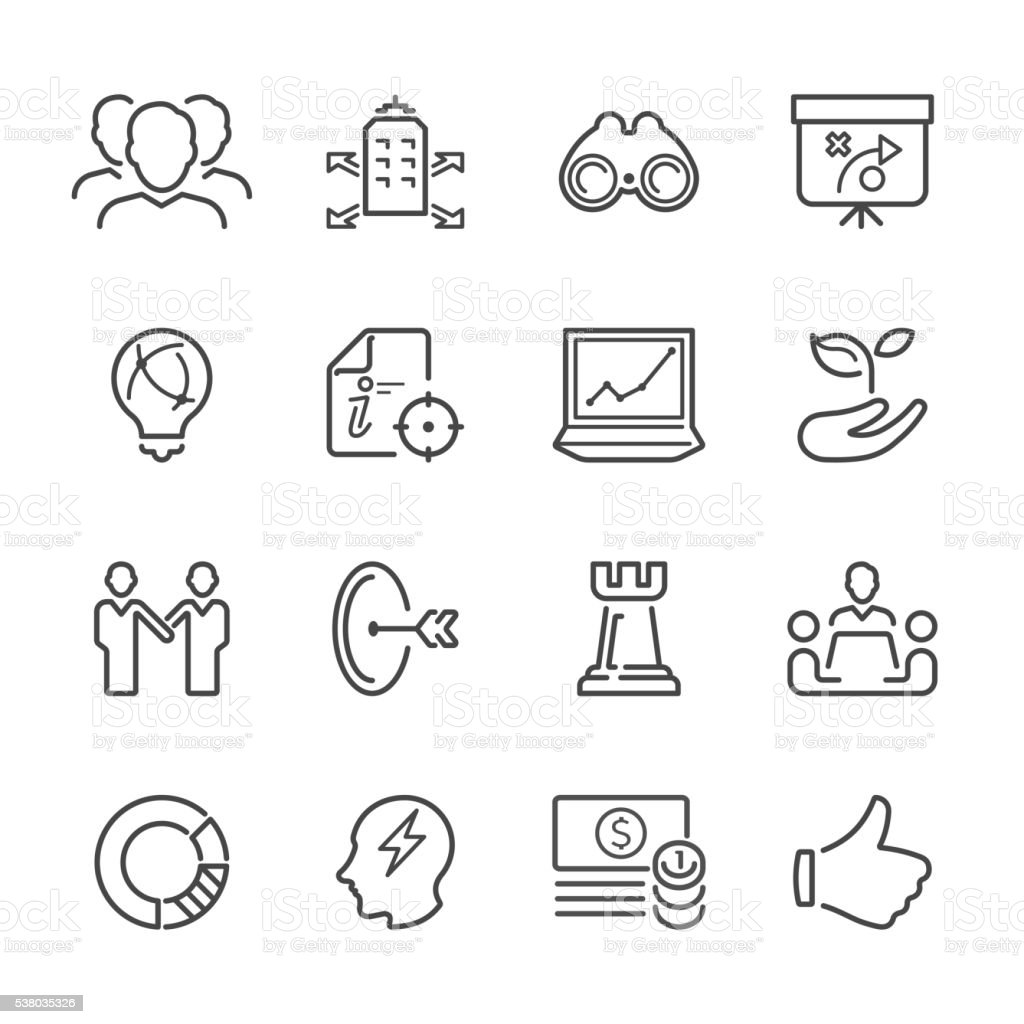 Flat Line icons - Business Strategy  Series vector art illustration