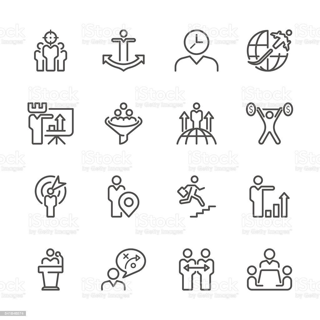 Flat Line icons - Businessman & metaphor  Series vector art illustration