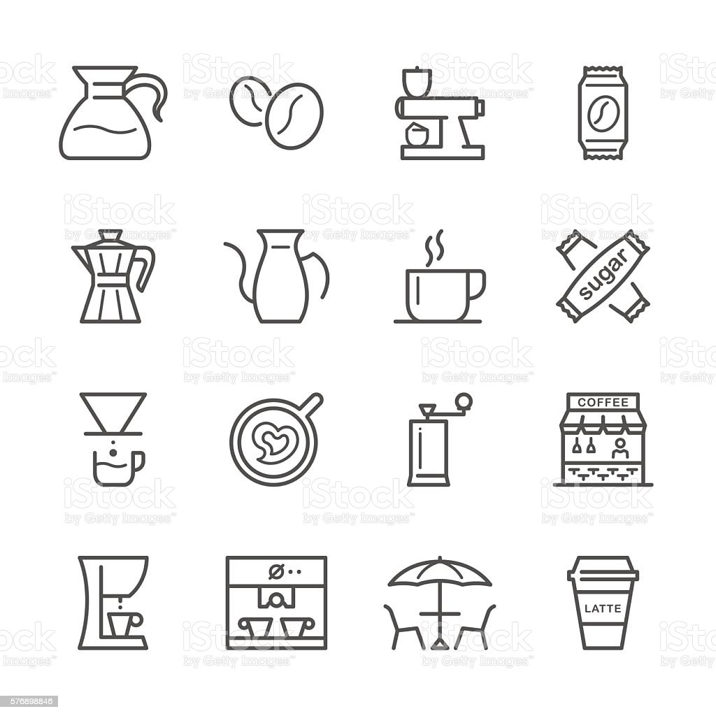 Flat Line icons - Coffee  Series vector art illustration