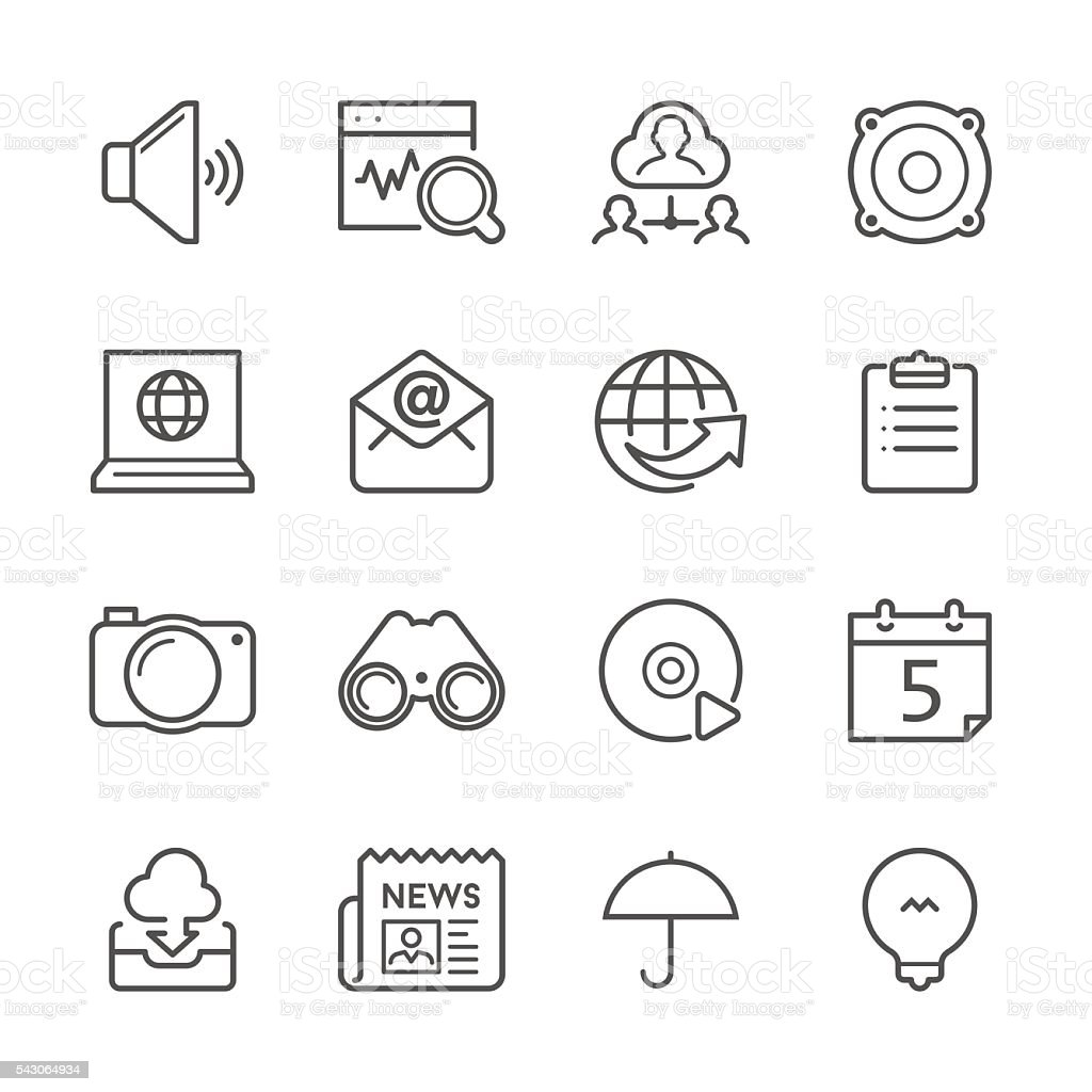 Flat Line icons - Communication and Internet Series vector art illustration
