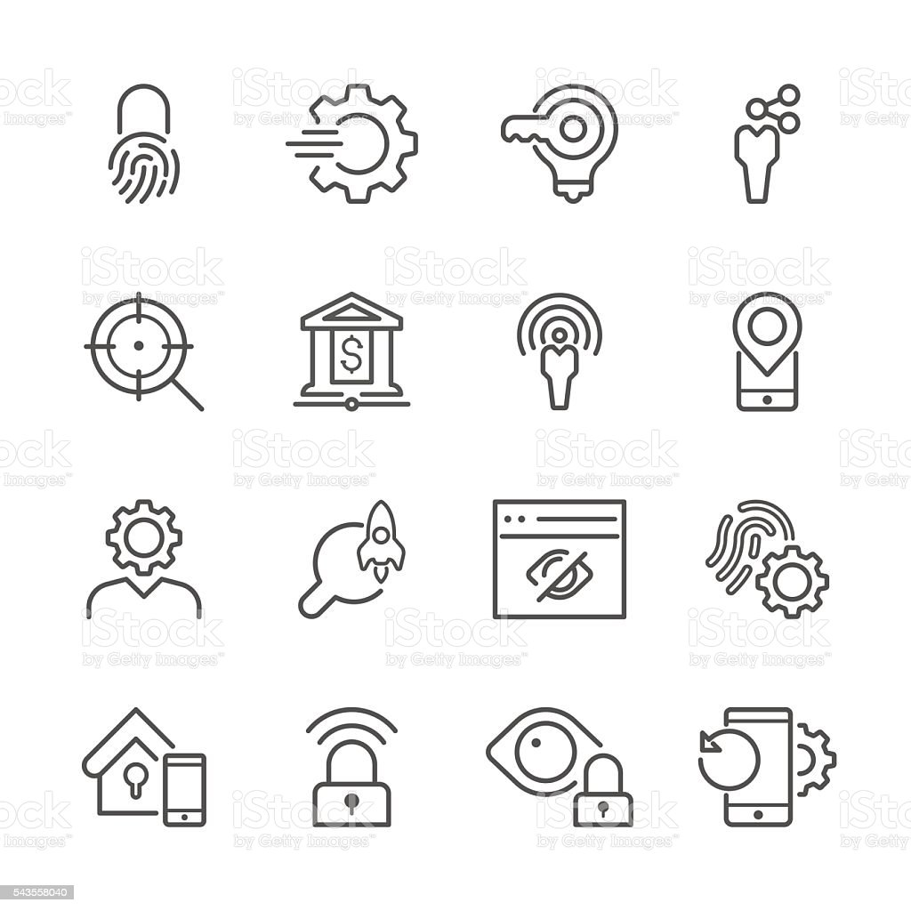 Flat Line icons - Communications & Web Series vector art illustration