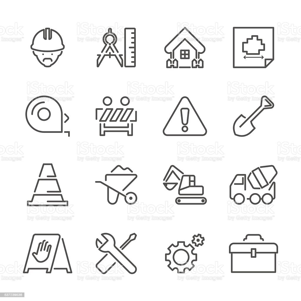 Flat Line icons - Construction Site Series vector art illustration