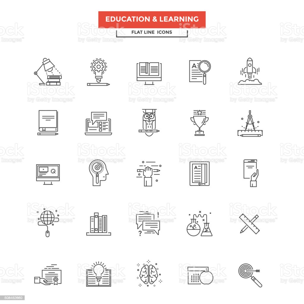 Flat Line  Icons - Education and Learning vector art illustration