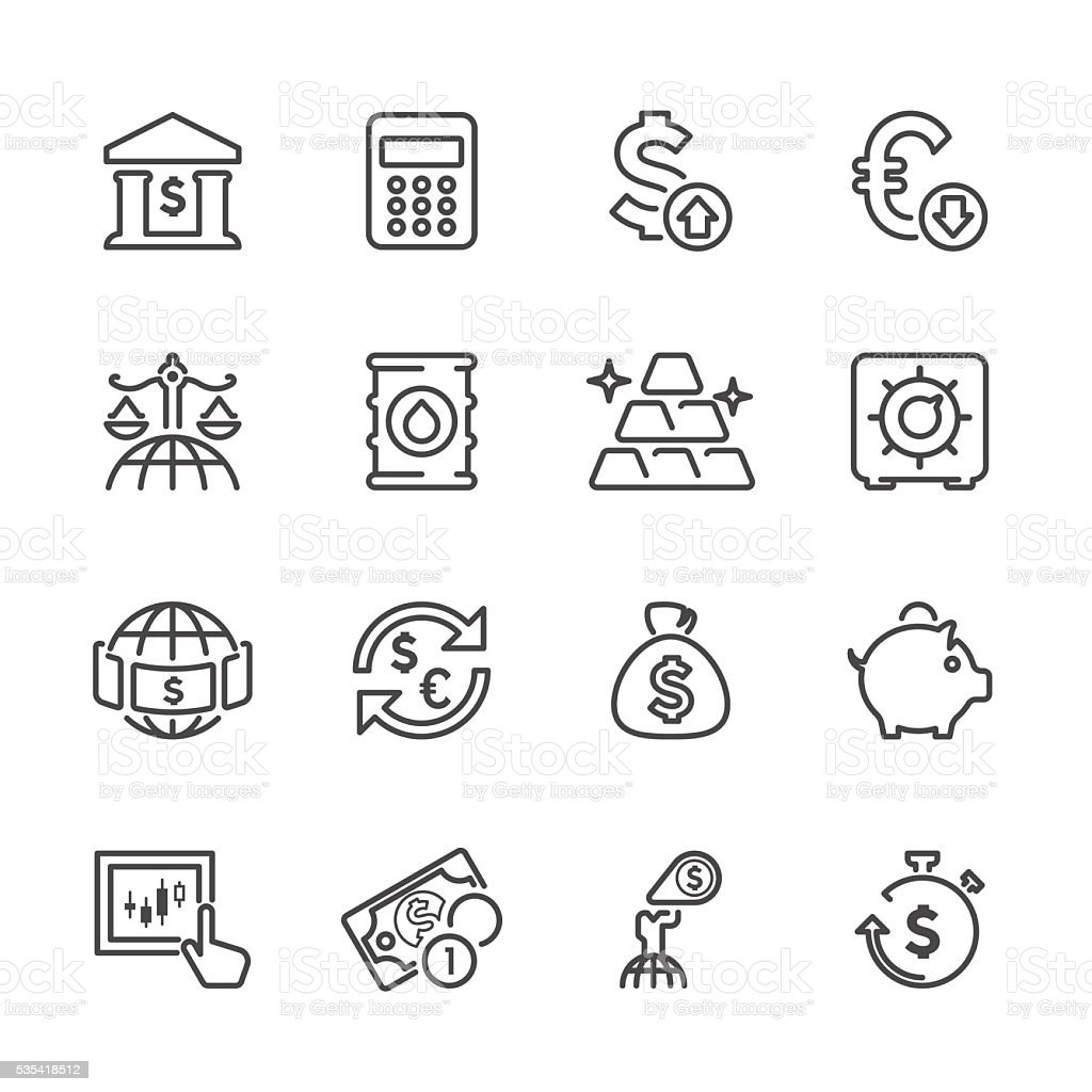 Flat Line icons - Finance & Investment  Series vector art illustration