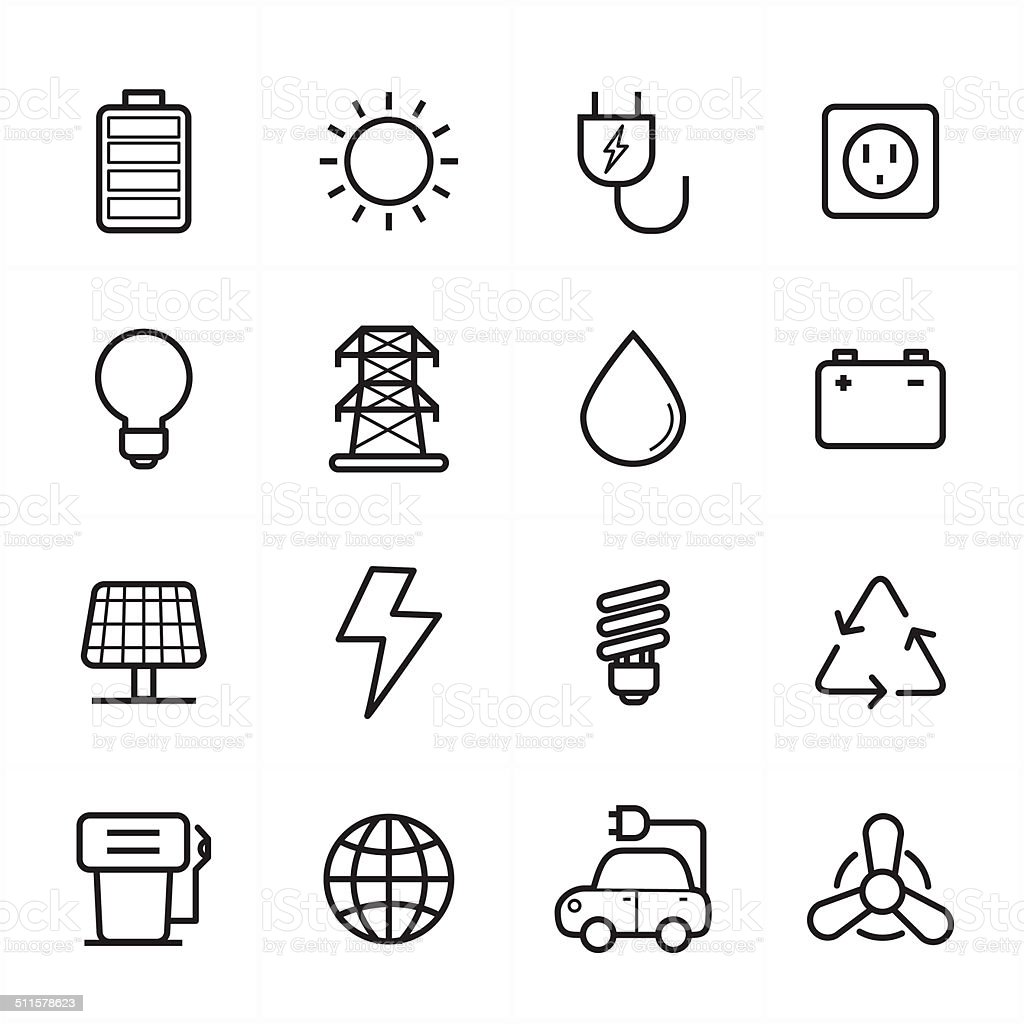 Flat Line Icons For Environment Icons and Ecology Icons Vector Illustration vector art illustration