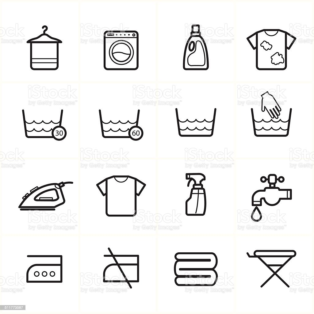Flat Line Icons For Laundry and Washing Icons Vector Illustration vector art illustration