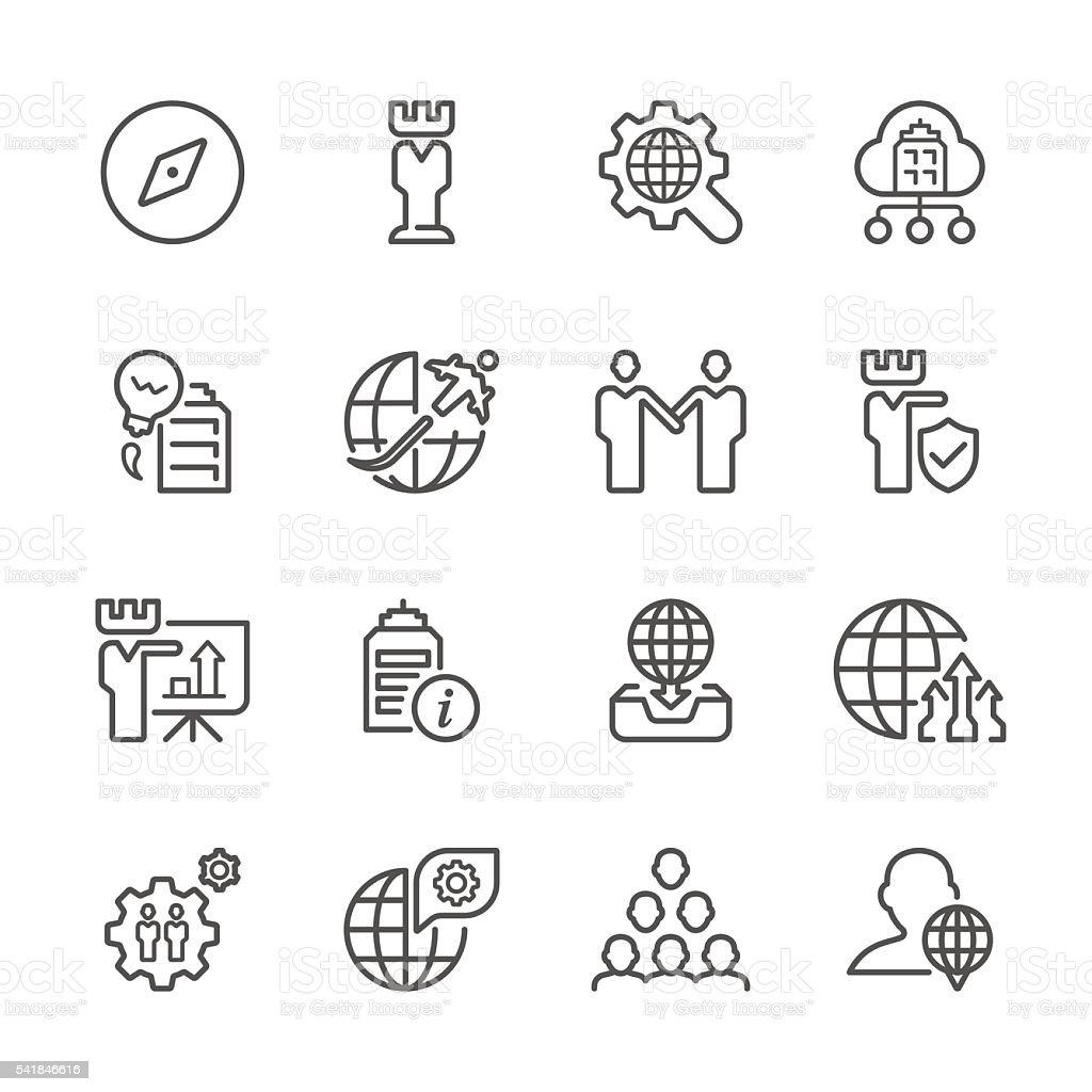 Flat Line icons - Global Business  Series vector art illustration