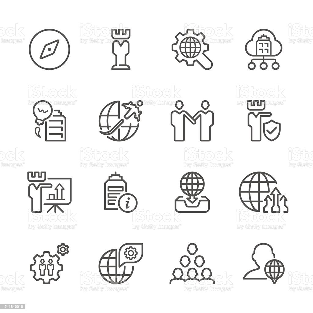 Flat Line icons - Global Business  Series vector art illustration