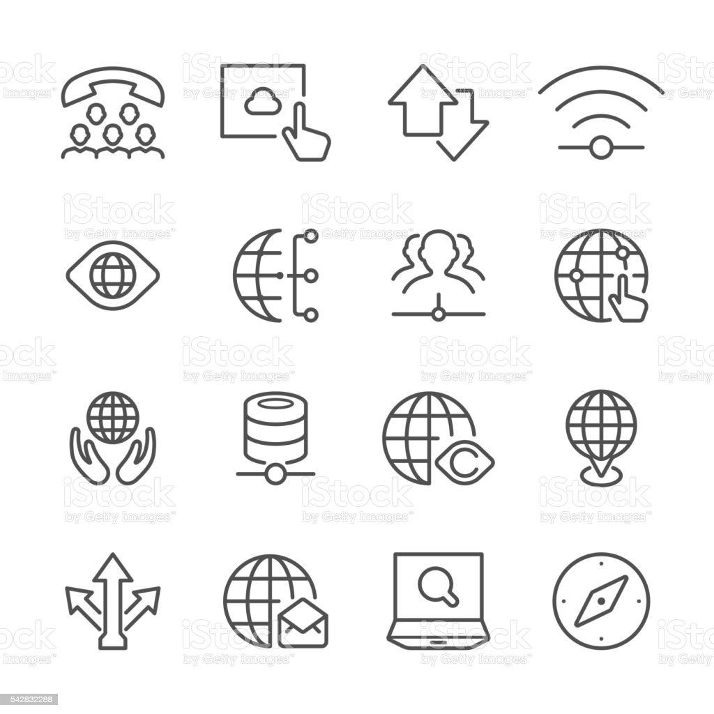 Flat Line icons - Global communication Series vector art illustration