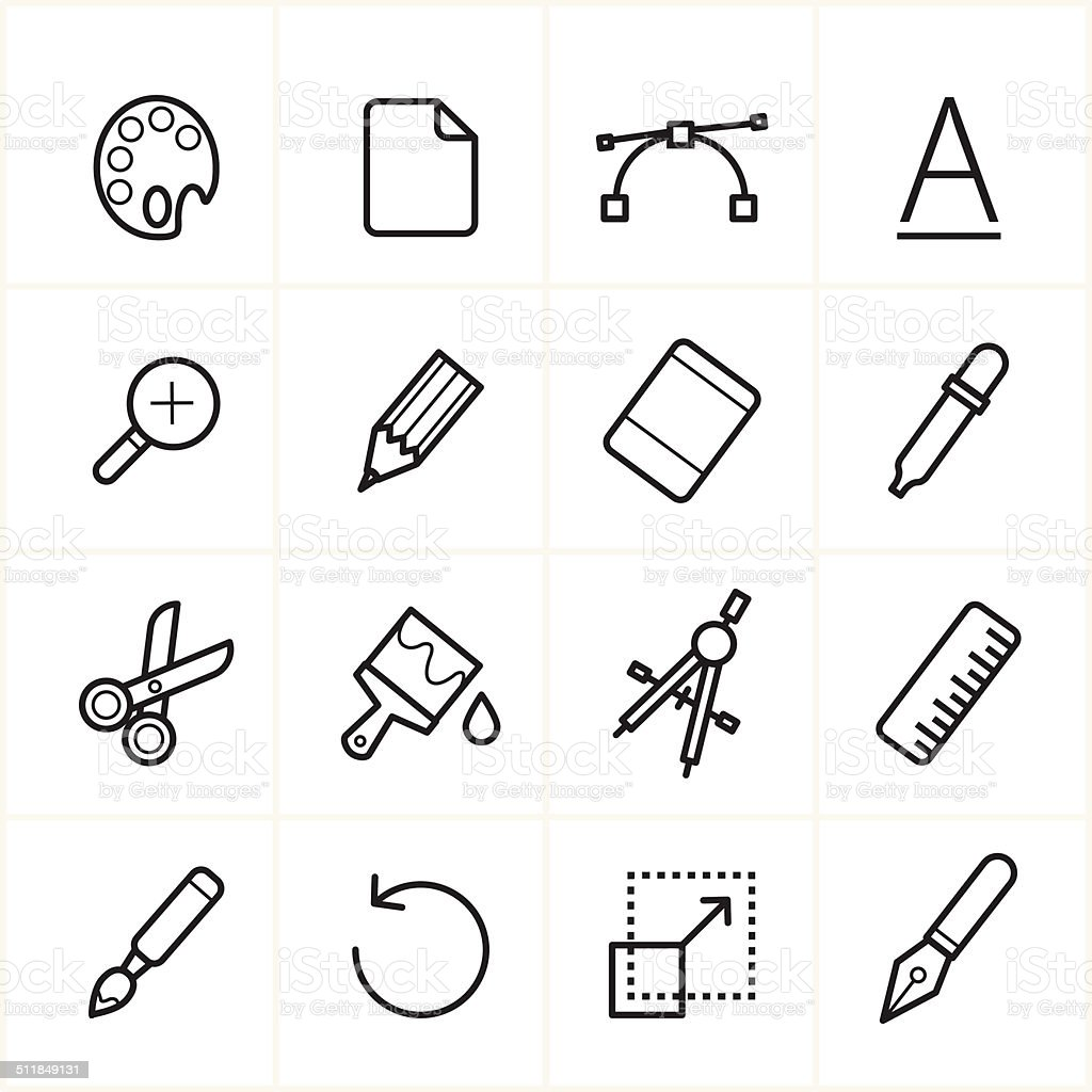 Flat Line Icons Graphic Design and Creativity Icons Vector Illustration vector art illustration