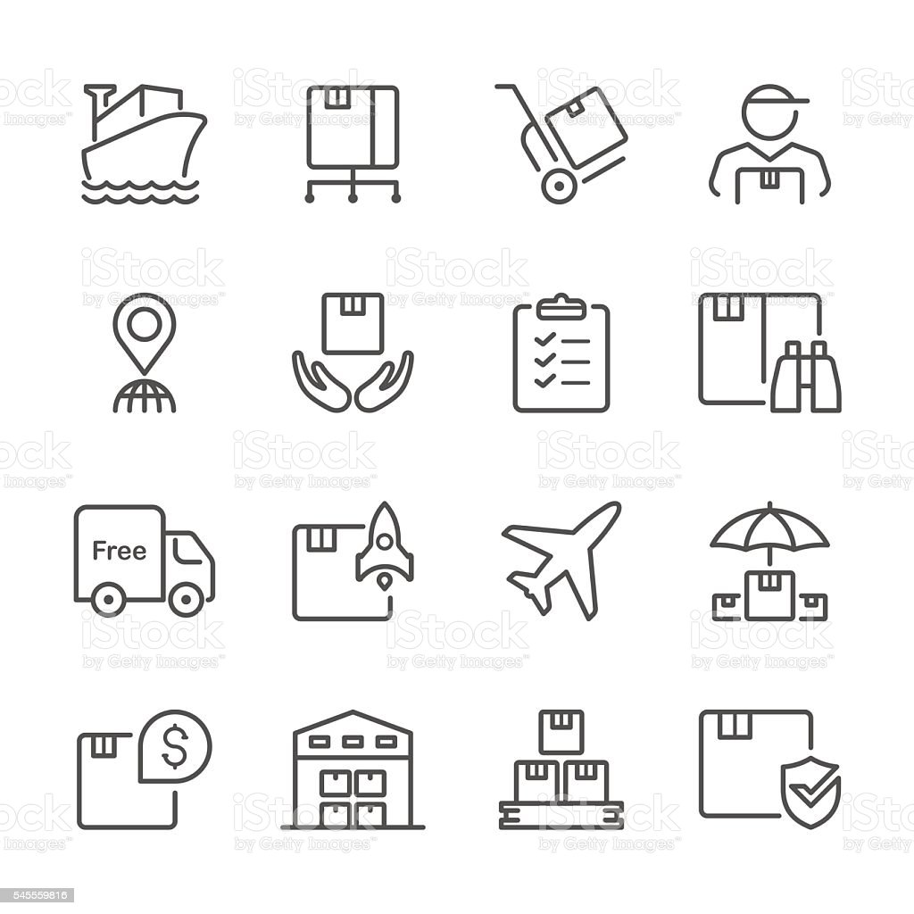 Flat Line icons - Logistic Series vector art illustration