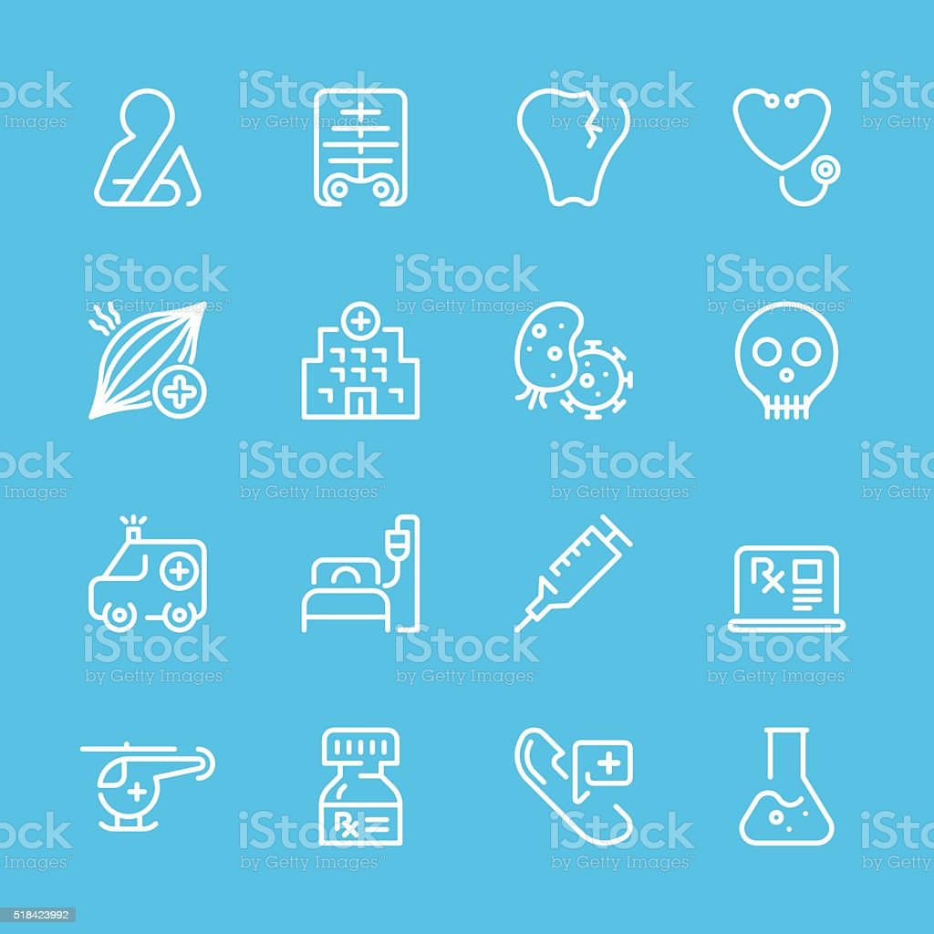 Flat Line icons - Medical Series vector art illustration