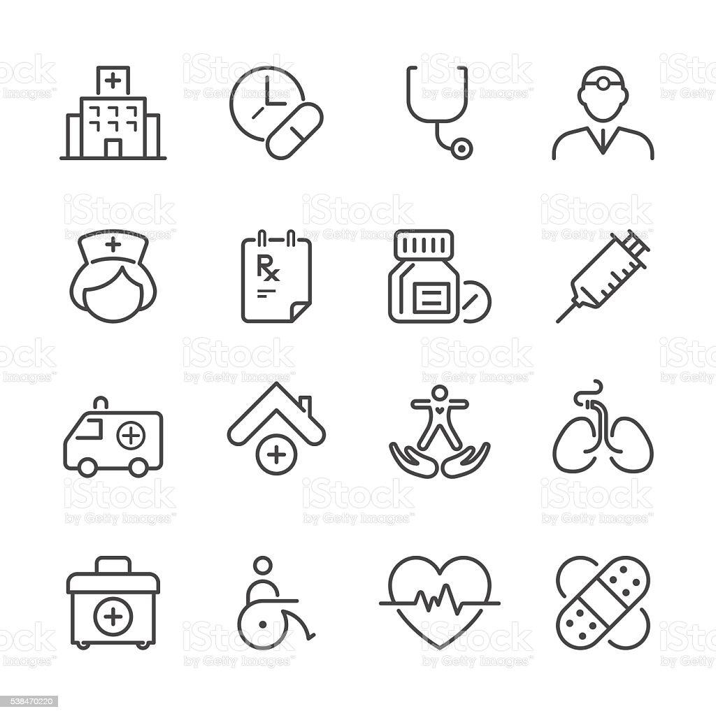 Flat Line icons - Medical Series vector art illustration