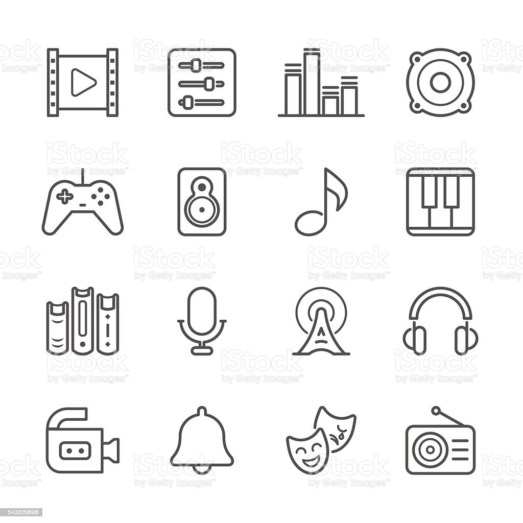 Flat Line icons - Multimedia Series vector art illustration