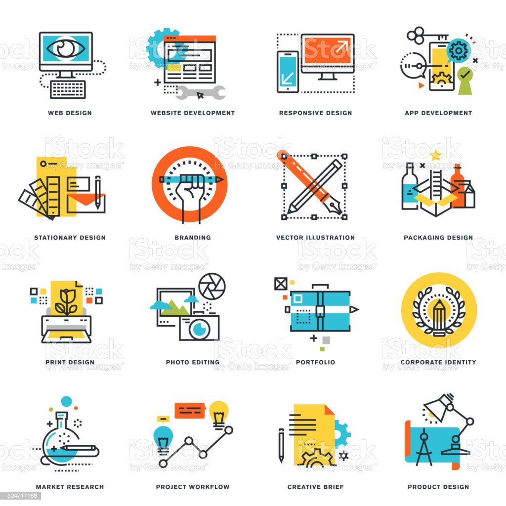 Flat line icons of graphic and web design and development vector art illustration