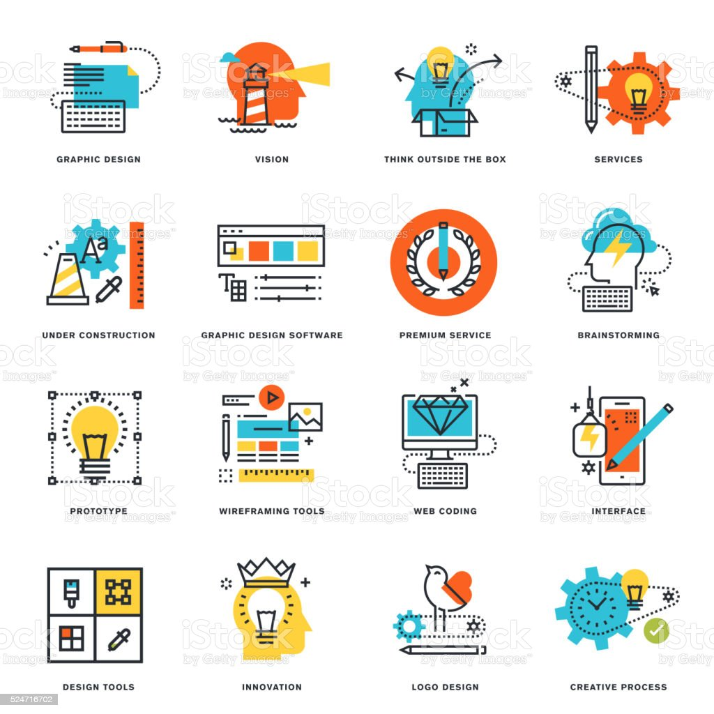 Flat line icons of graphic design, tools and creative process vector art illustration