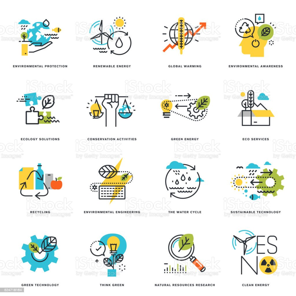 Flat line icons of nature, ecology, green technology and recycling vector art illustration