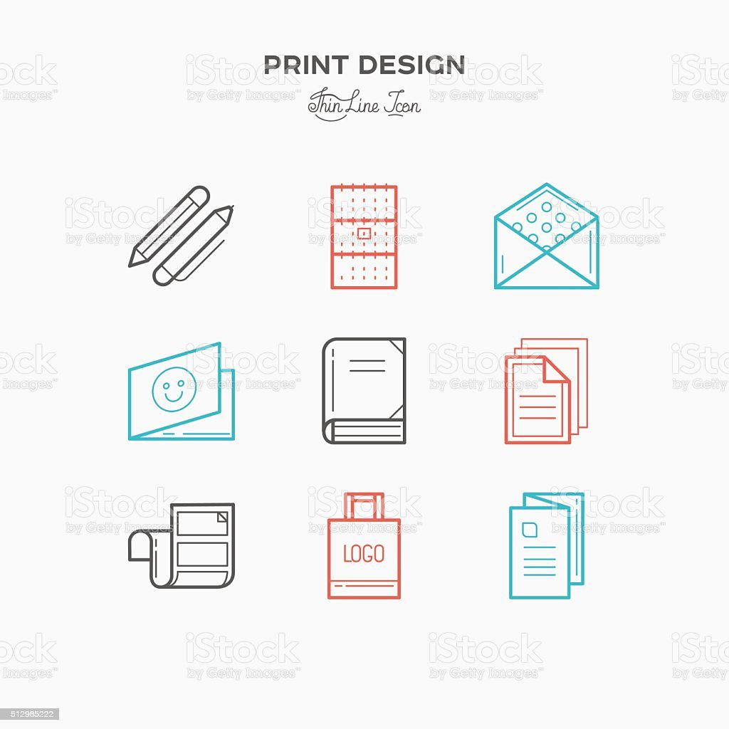 Flat line icons of Print design products vector art illustration