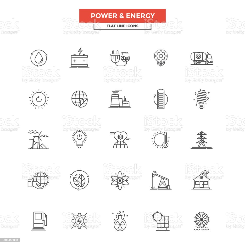 Flat Line  Icons- Power and Energy vector art illustration