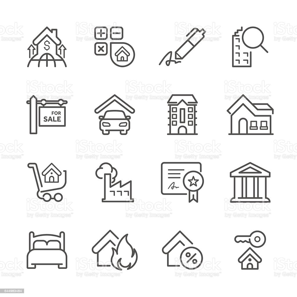 Flat Line icons - Real estate Series vector art illustration