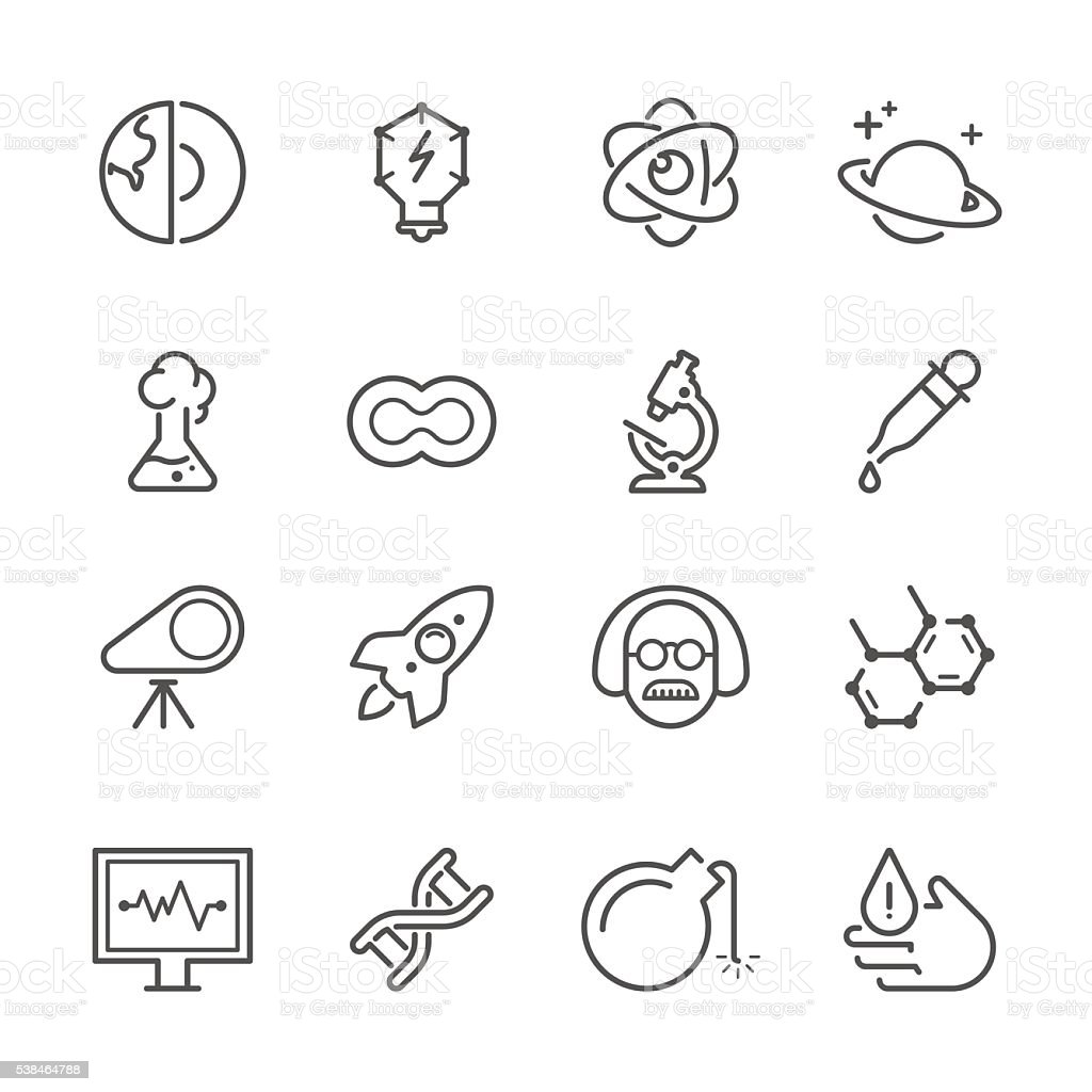 Flat Line icons - Science & Chemistry Series vector art illustration