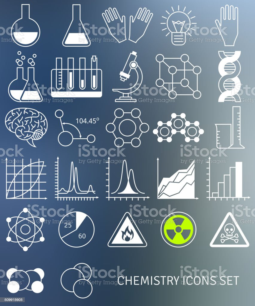 Flat line icons set of chemistry symbols and objects. vector art illustration