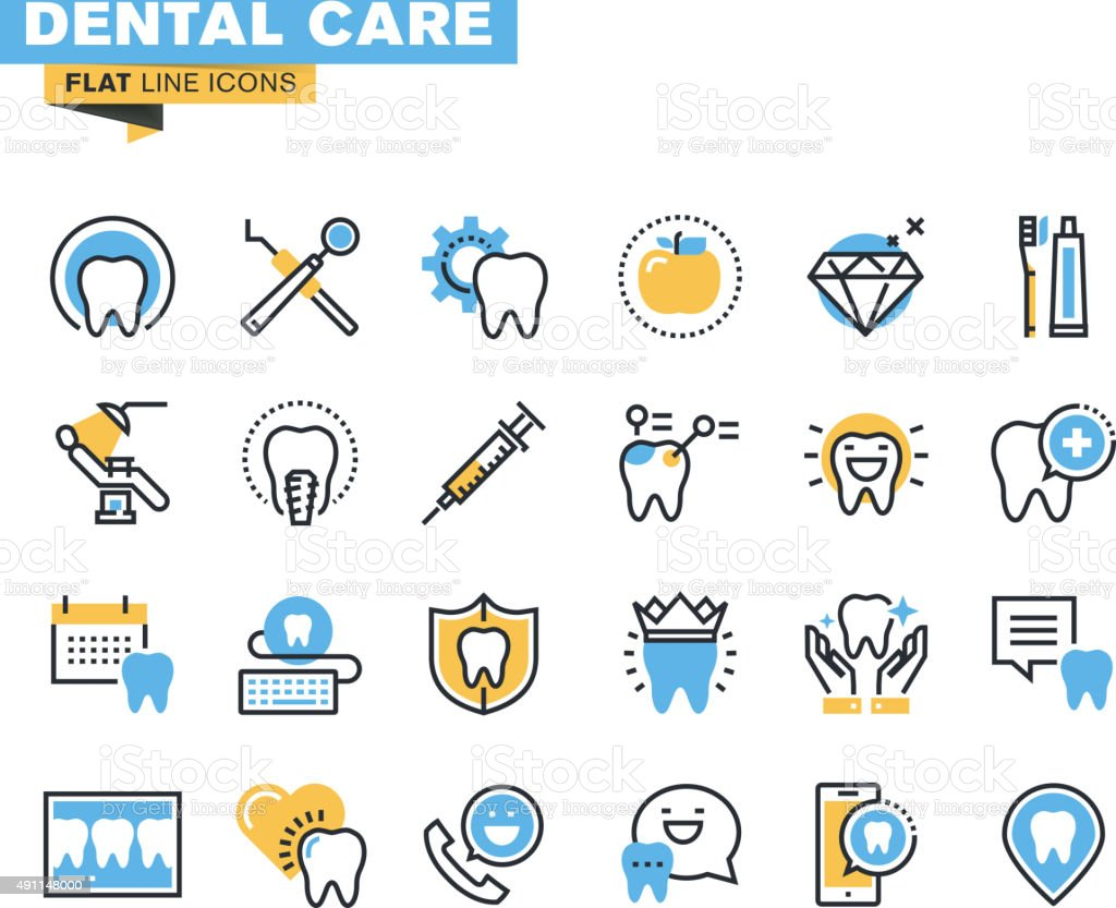 Flat line icons set of dental care theme vector art illustration