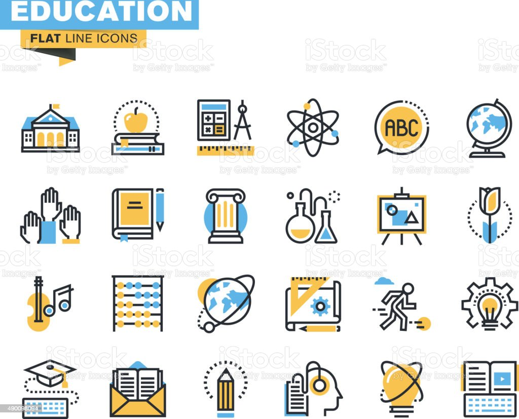 Flat line icons set of education vector art illustration