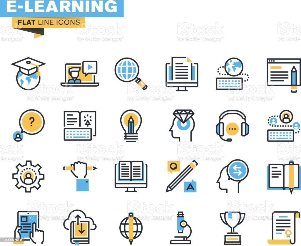 Conjunto de iconos de línea plana de aprendizaje electrónico illustracion libre de derechos libre de derechos
