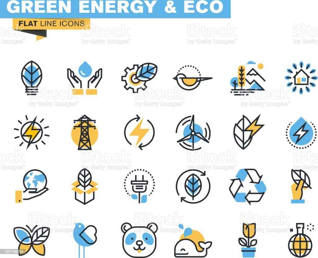 Flat line icons set of green technology vector art illustration
