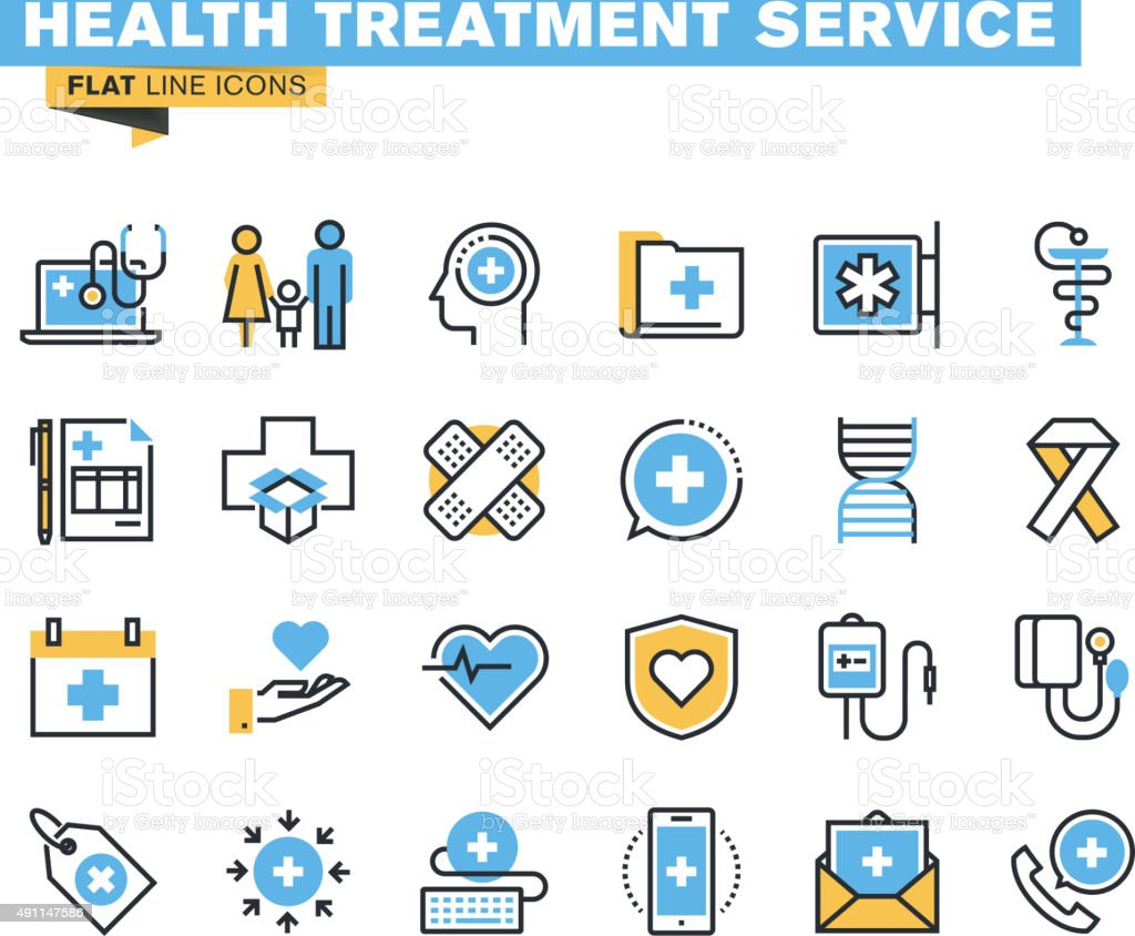 Flat line icons set of health treatment service vector art illustration