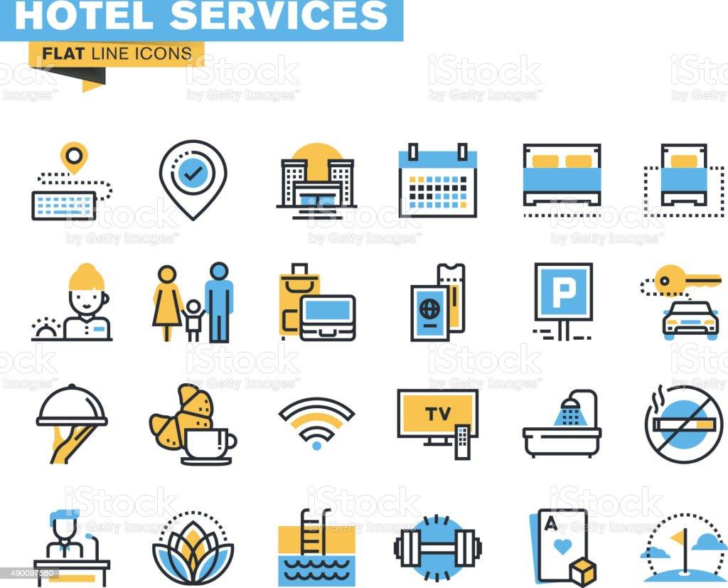 Flat line icons set of hotel service vector art illustration