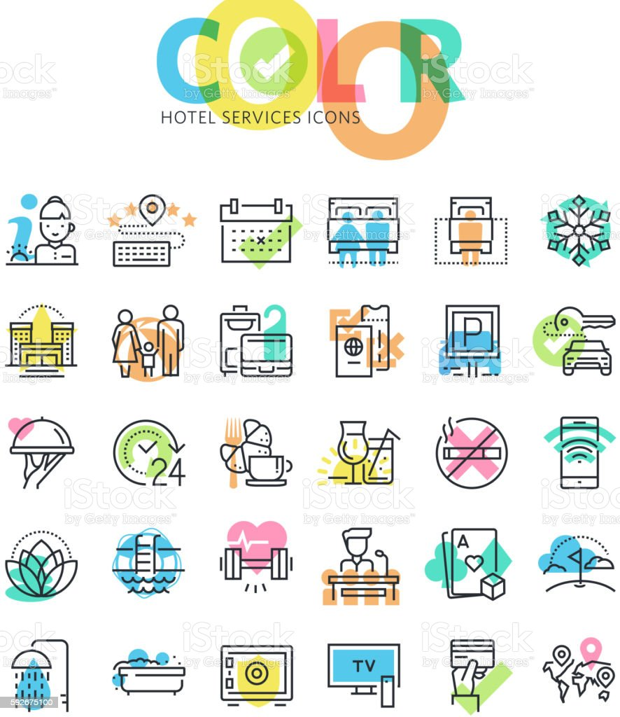 Flat line icons set of hotel services and facilities vector art illustration