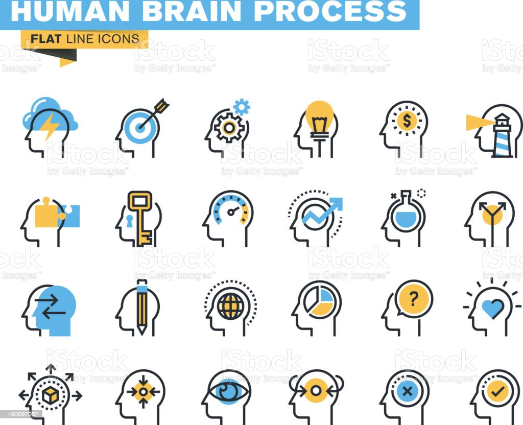 Flat line icons set of human brain process vector art illustration
