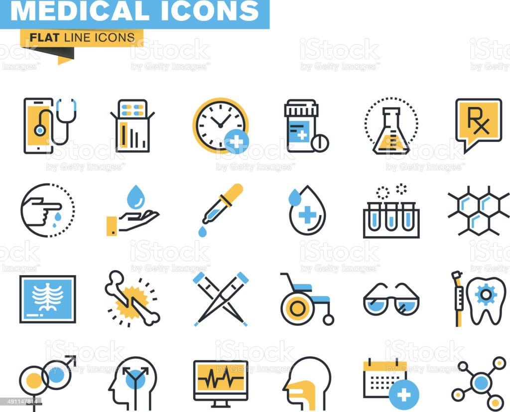Flat line icons set of medical supplies vector art illustration