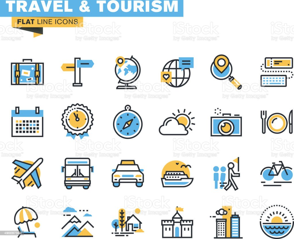 Flat line icons set of travel and tourism vector art illustration
