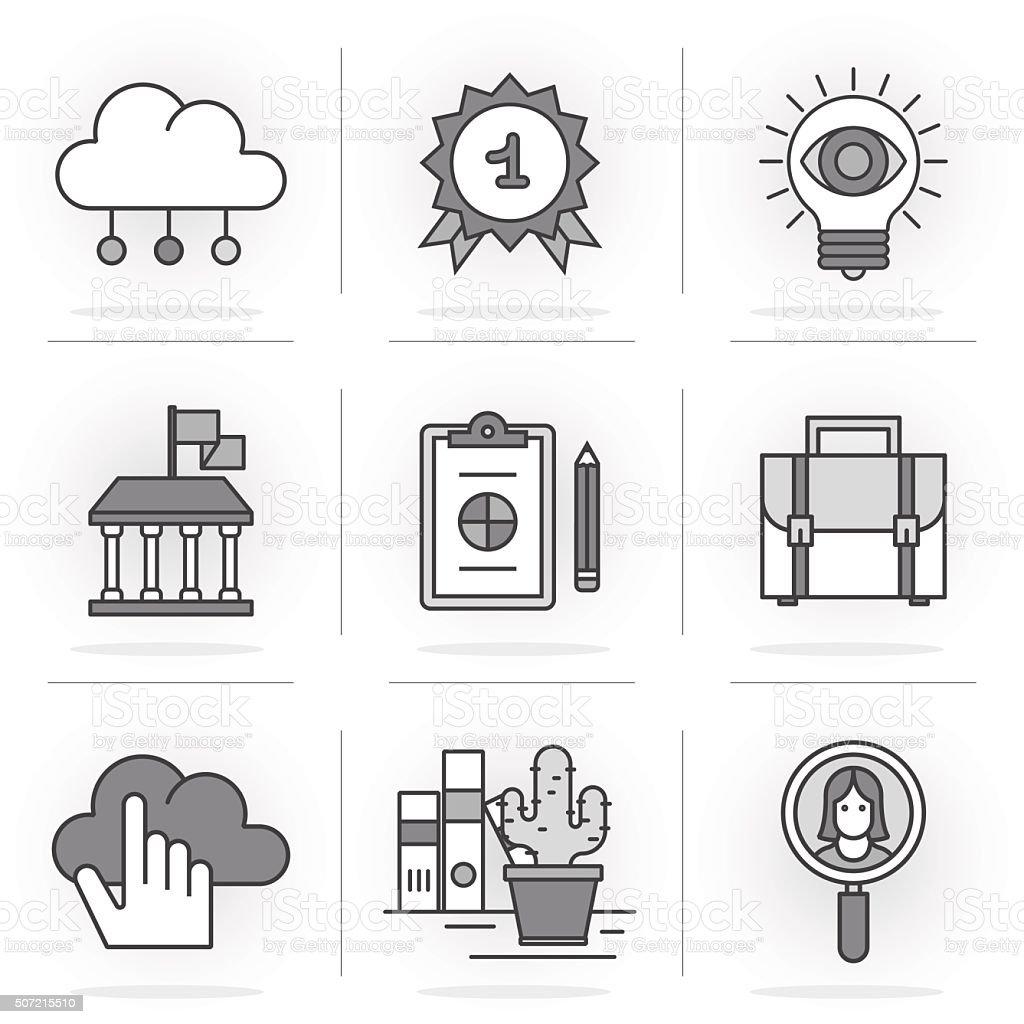 Flat Line Icons Set. vector art illustration