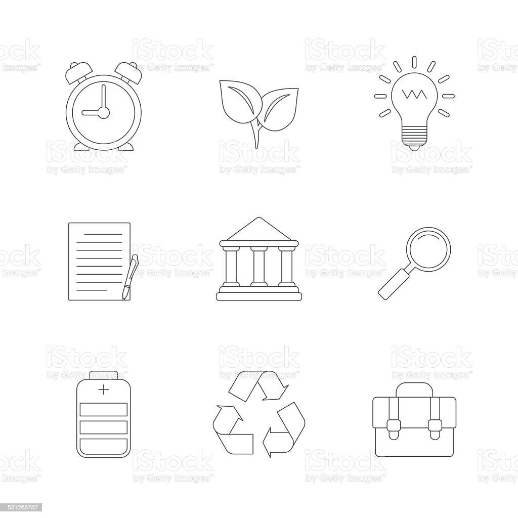 Flat Line Icons Set vector art illustration